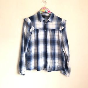 Express plaid ruffle shoulder button down size S